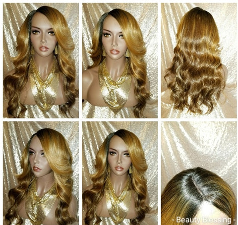 Celeb Style Wavy Curl  Human Hair Blend Lace Wig
