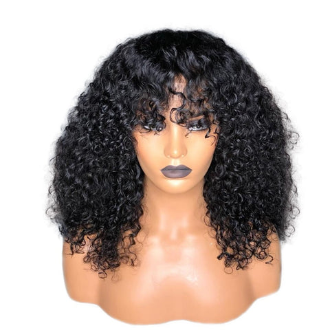Deep Curly Brazilian Remy Human Hair Lace Front 13X6 Deep Part  Wigs With Bangs