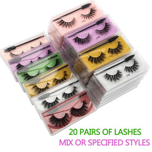 Wholesale Eyelashes 20/30/40/150pcs 3D Mink Lashes Natural Makeup False Lashes Fluffy Wispy Eyelashes Set with Lash Brushes