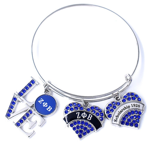 Zeta Phi Beta Blue Crystal Sorority Jewelry Greek Letter  Logo1920 Zeta Phi Beta Bangles Bracelet