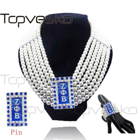 Zeta Phi Beta Sorority Fashion Pearls Logo Letter Custom Made Multi-layer Choker Bib Necklace Bracelet Jewelry set