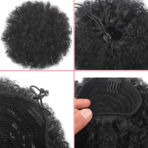 Ponytail High Hair Puff Clip in Bun Afro Kinky Curly Drawstring Ponytail Hair Extensions Hairpiece Solid Colors