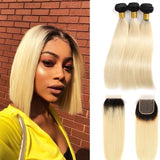 Ultra Brazilian Mink Virgin Remy Human Hair 1B/613 Body Wave & Straight Bundles with Frontal/ Closure