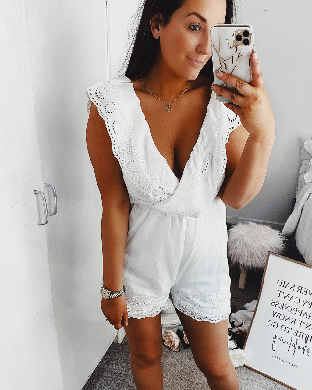 Arabella Playsuit White