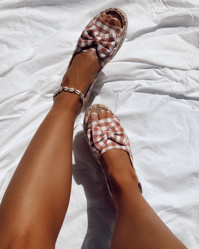 Slingback Bow Sandals in Pink Gingham
