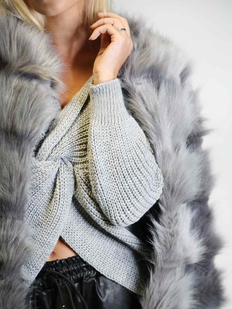 Hussle Grey Faux Coat