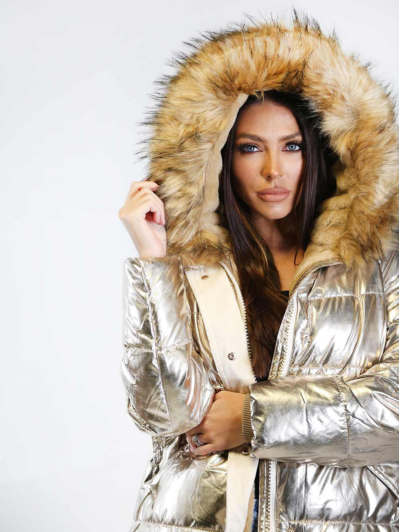 End of Story Metallic Puffer Coat