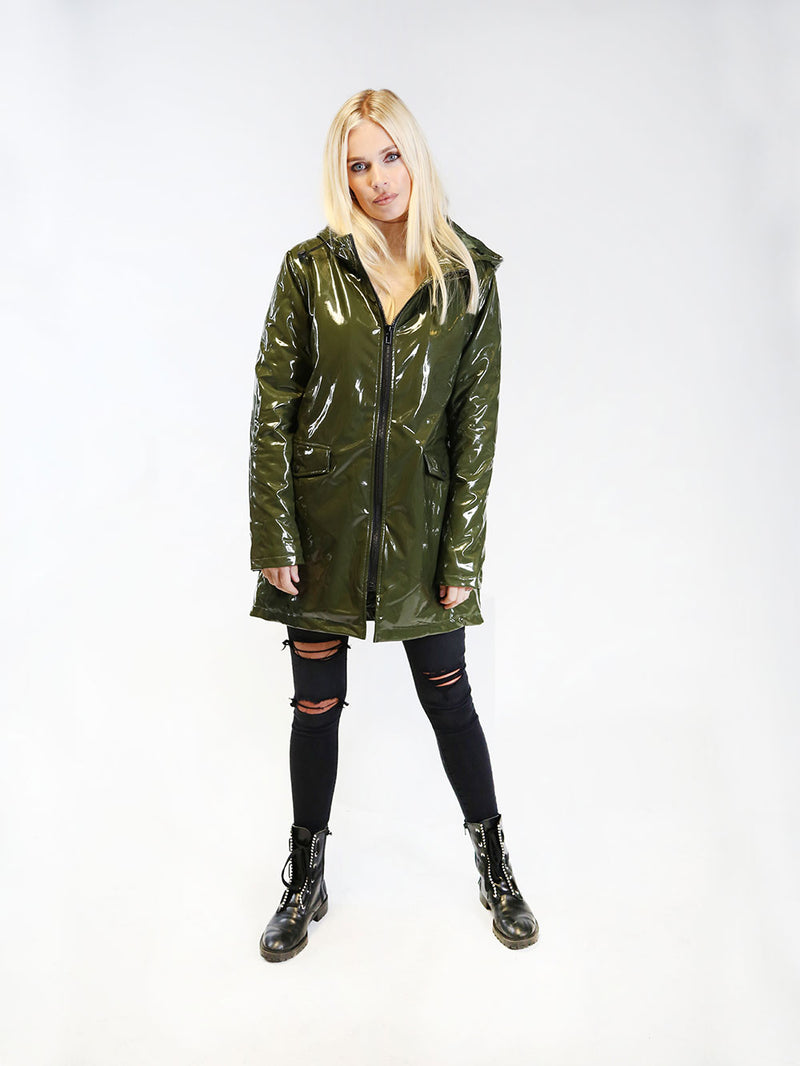 MARQUEE VINYL WET LOOK HOODED COAT
