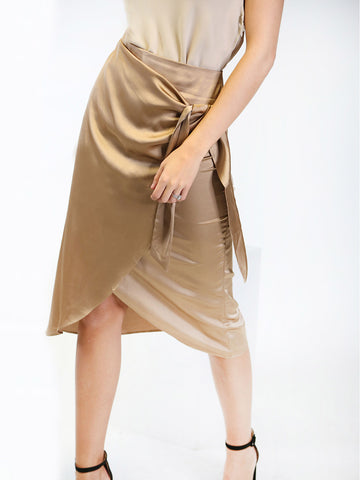 Satin Midi Skirt in Nude
