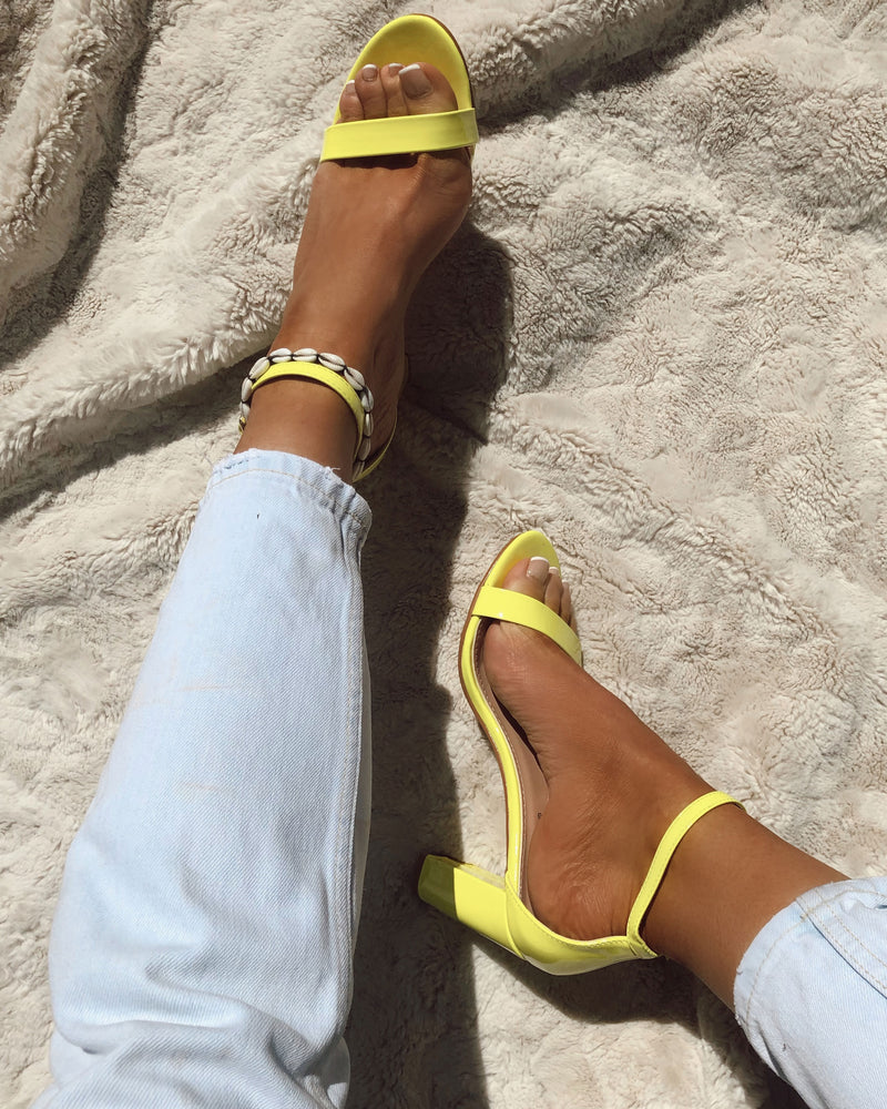 Barely There Block Heel In Neon Yellow