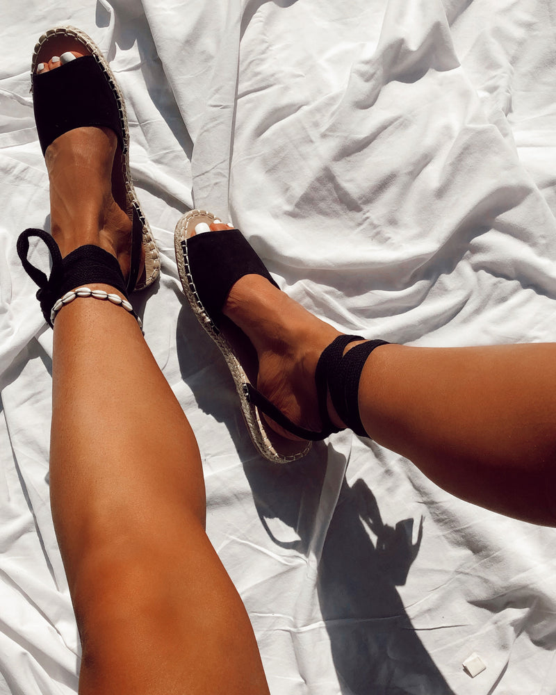 Black Open Toe Tie Up Espadrilles