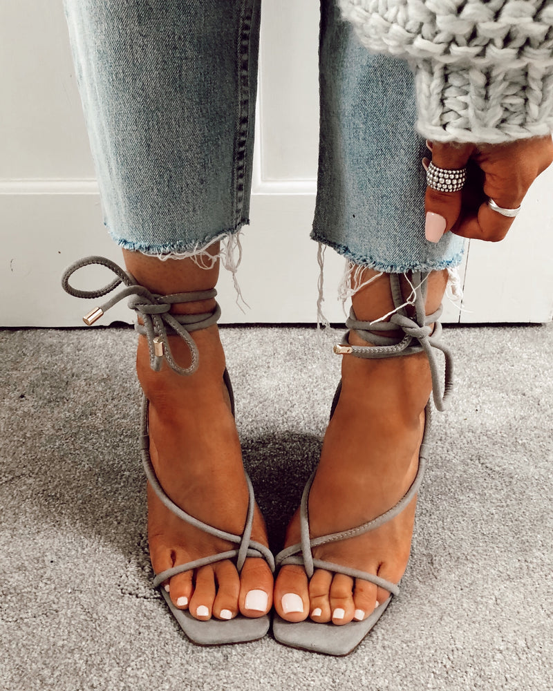 Tie up Square Toe Heels in Dove Grey