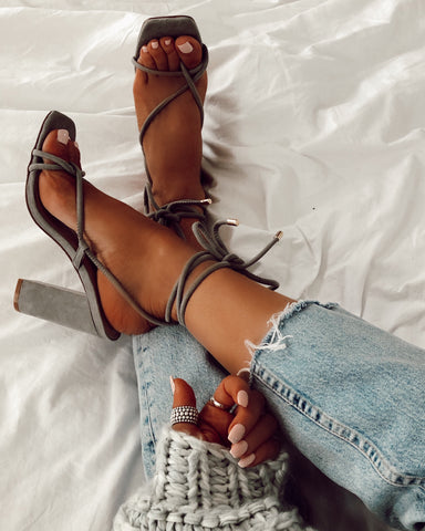 Grey Buckle Up Block Heel Sandals