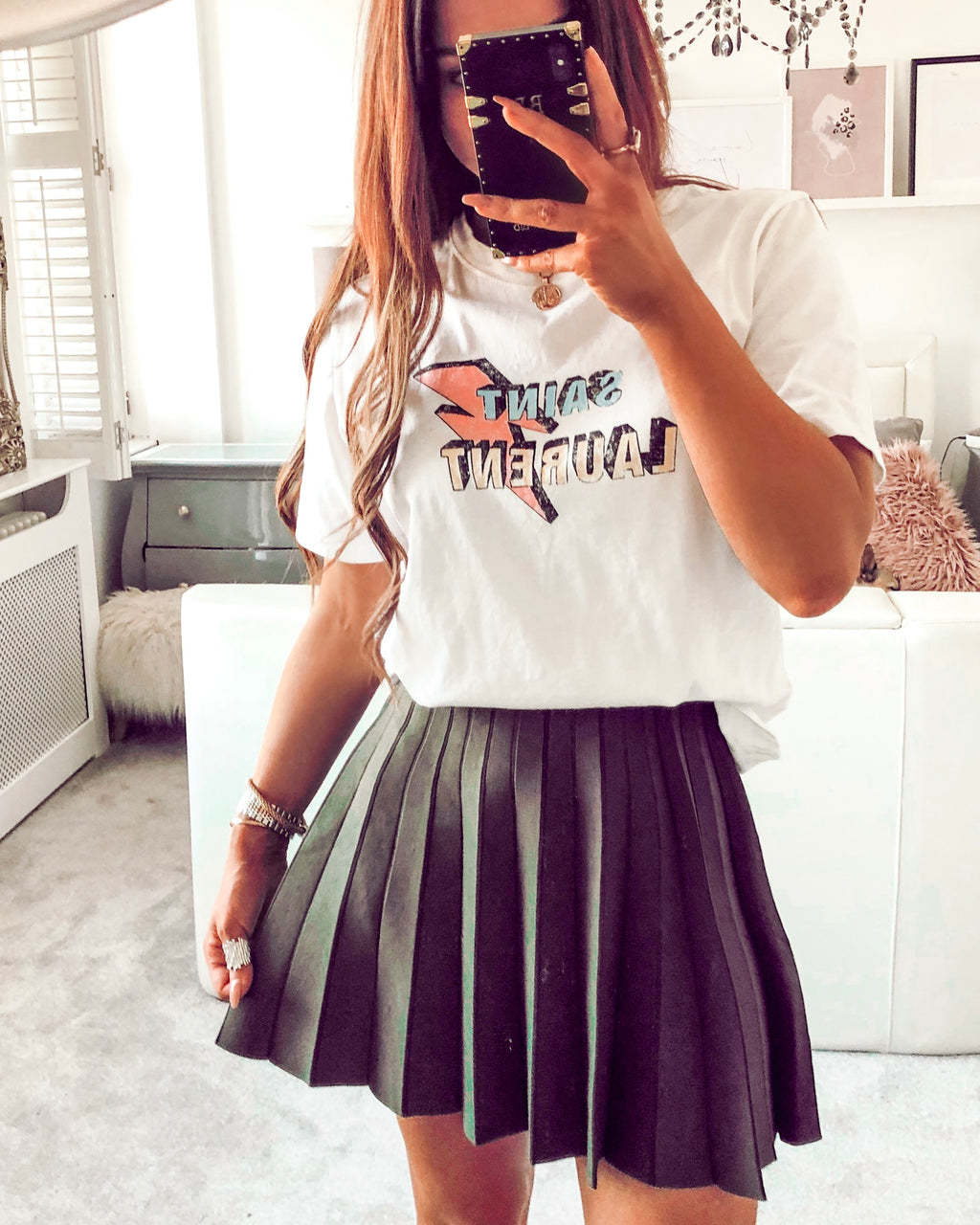 ladies khaki pleated mini skirt