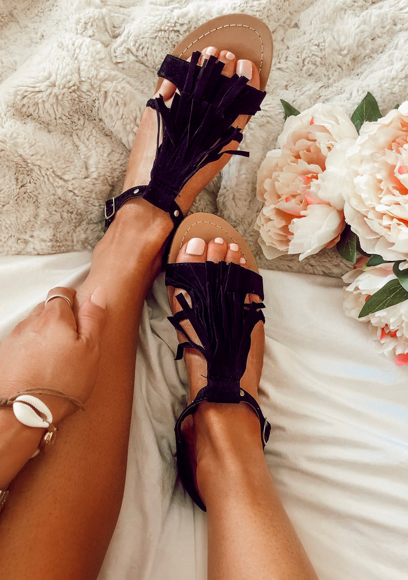 Celestia Tassel Sandals in Black