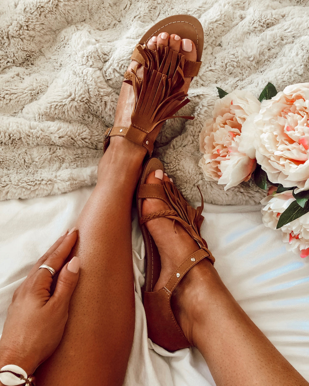 Celestia Tassel Sandals in Camel