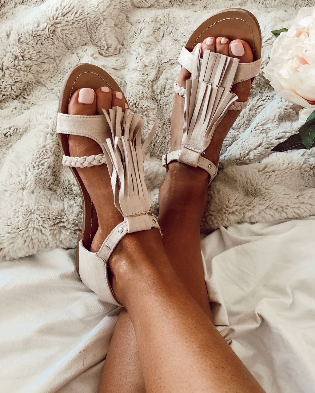 Celestia Tassel Sandals in Nude