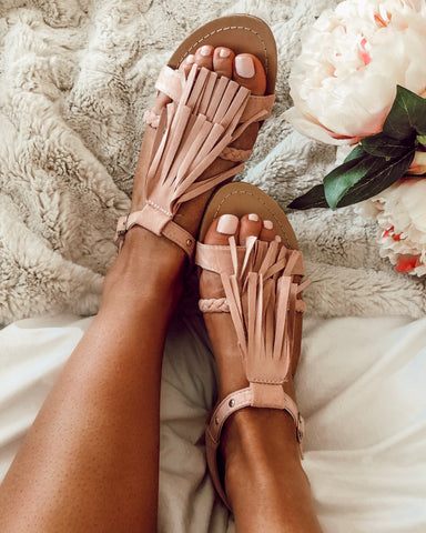 Jasper Beaded Slides in Rose Gold