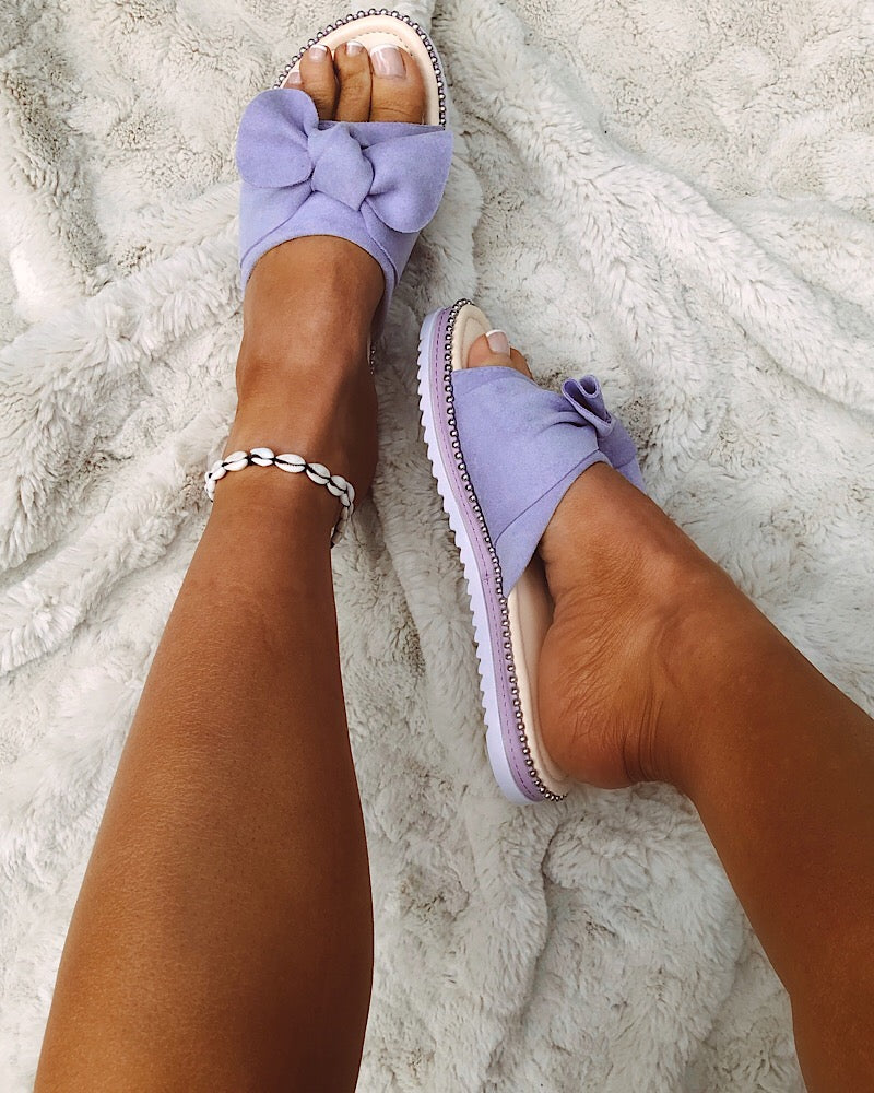 Slip On Bow Sandals in Purple