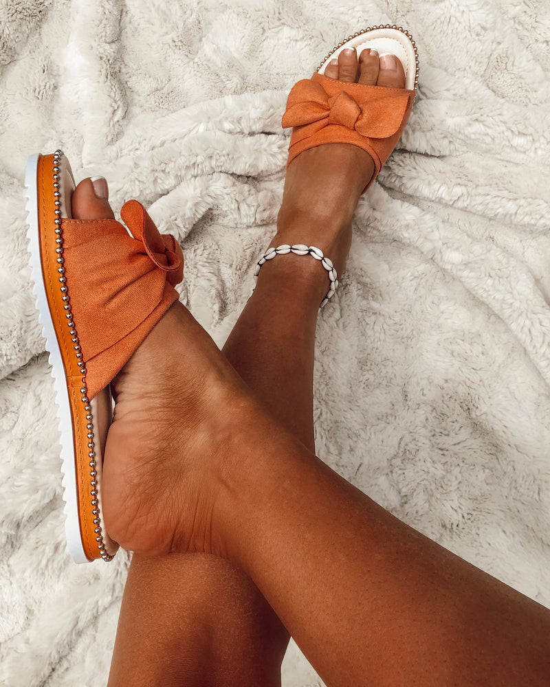 Slip On Bow Sandals in Orange