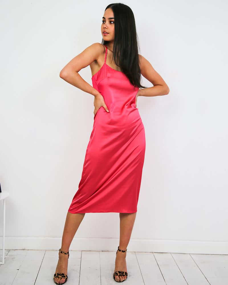 ladies slinky satin midi dress in pink