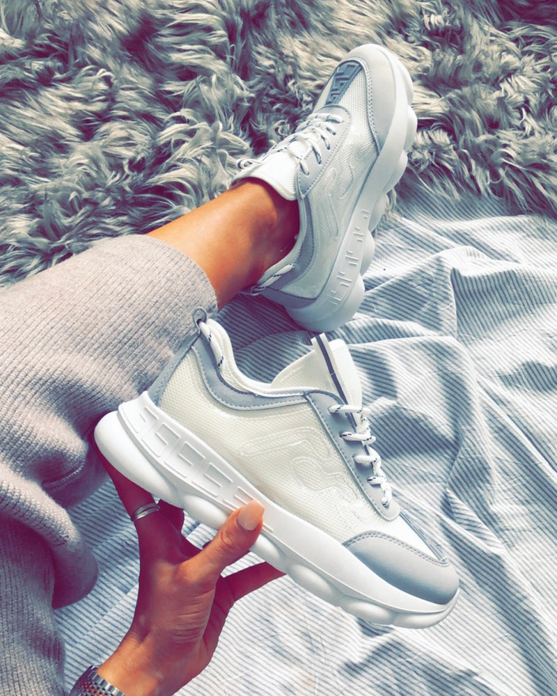 ladies white yeezy style trainers