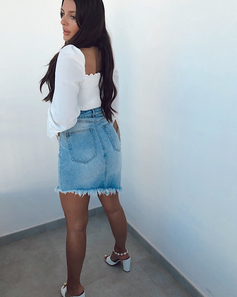 Asymetrical Denim Skirt