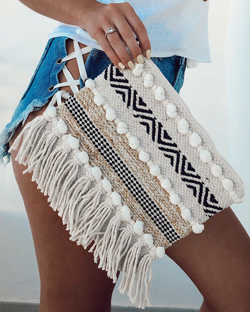 Rafia Tassel Clutch Bag
