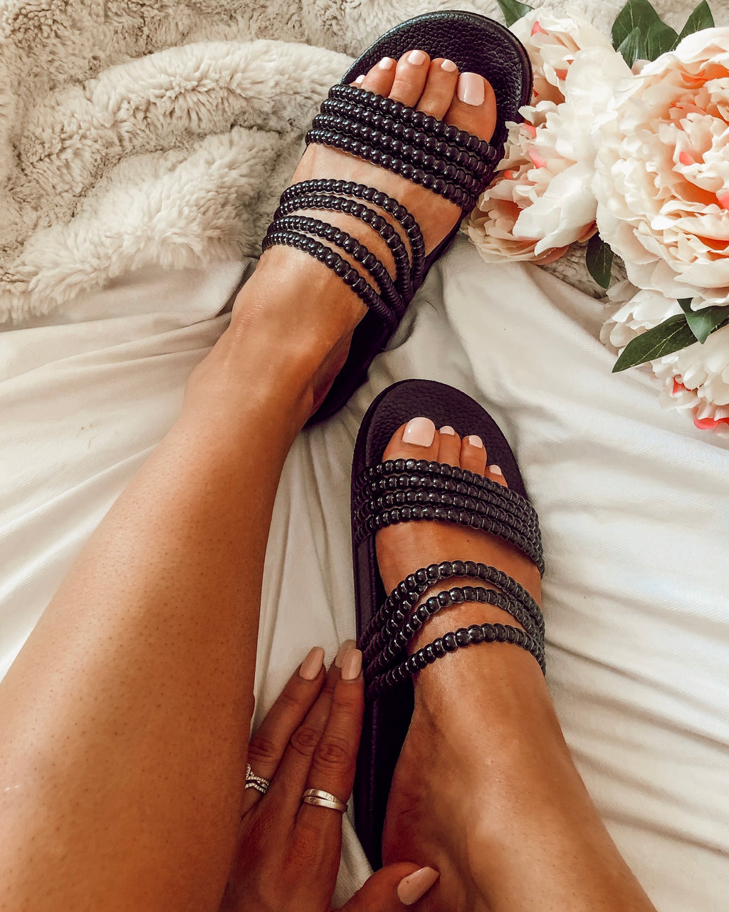 Jasper Beaded Slides in Black