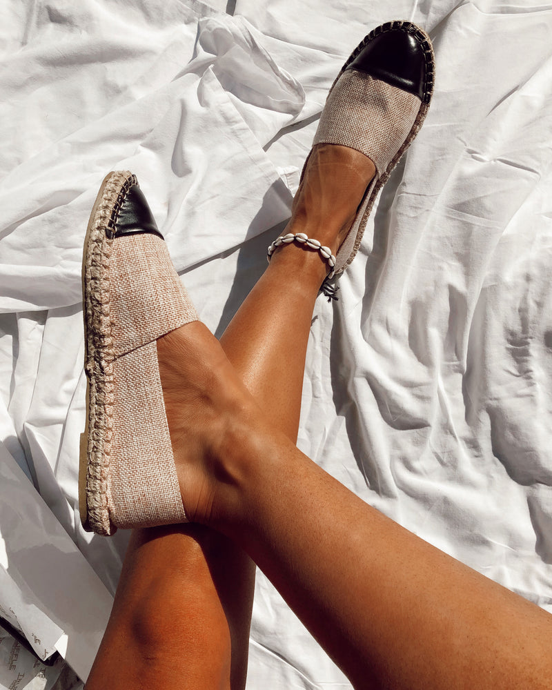 Natural Espadrilles with Black Toe