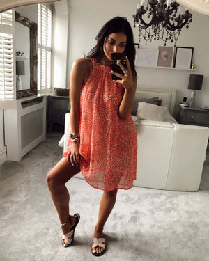 Printed Swing Dress in Coral