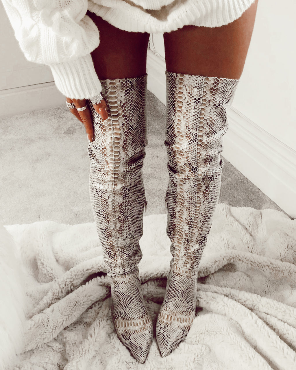 ladies snake print  over knee boots