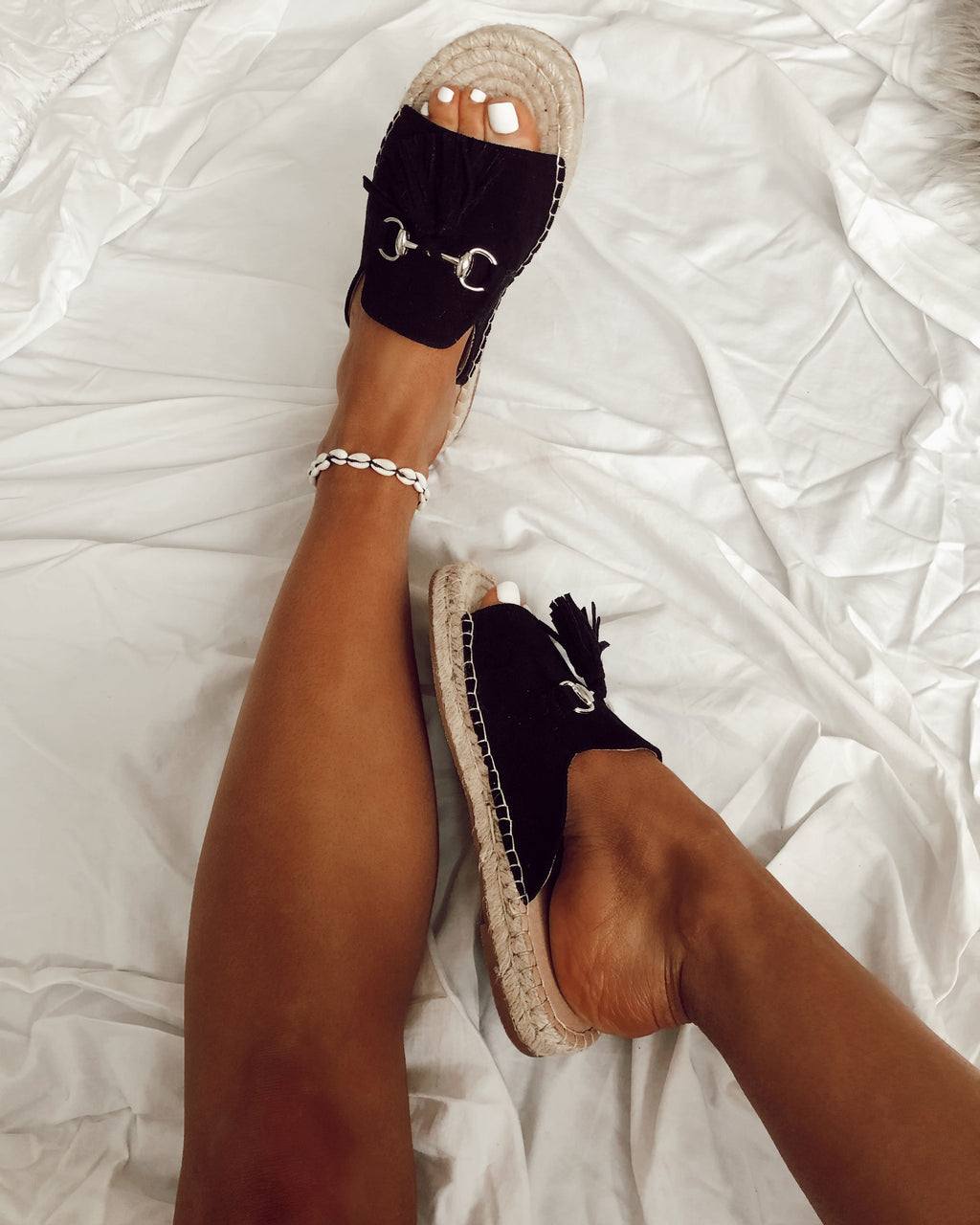Slip on Tassel Espadrilles in Black