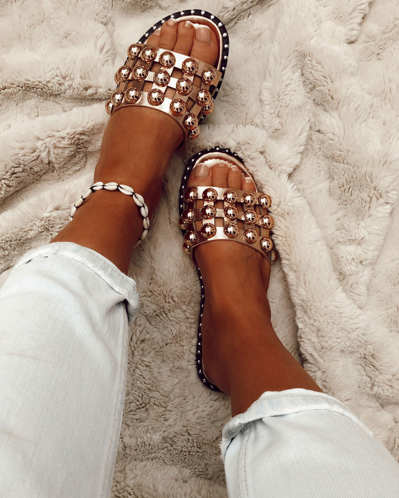 Large Studded Sliders In Rose Gold