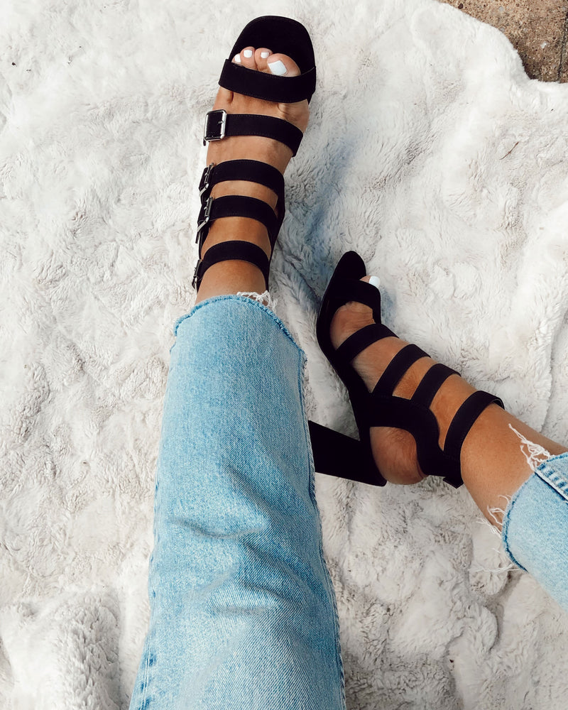 Black Buckle Up Block Heel Sandals