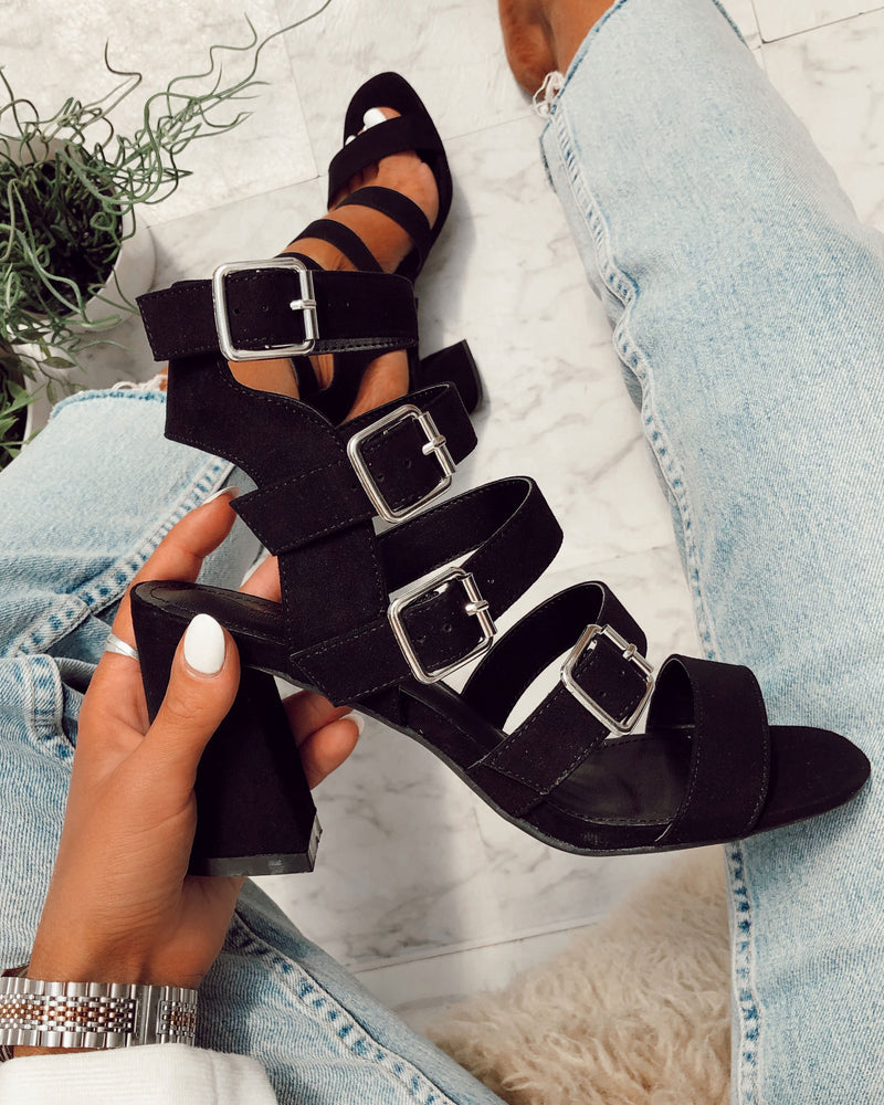 ladies black buckle heeled sandals