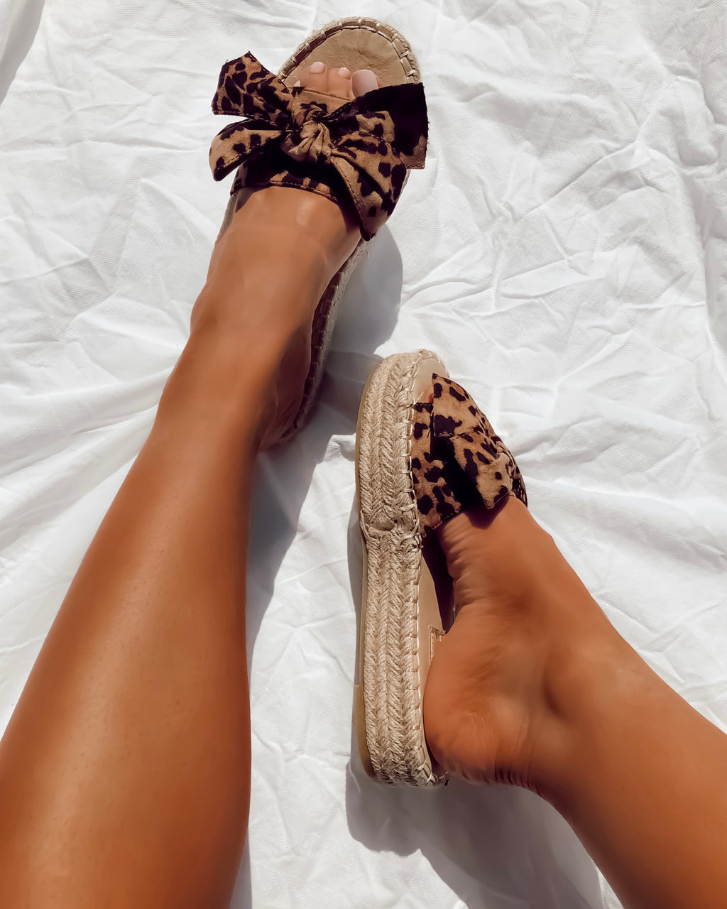 ladies leopard print sliders