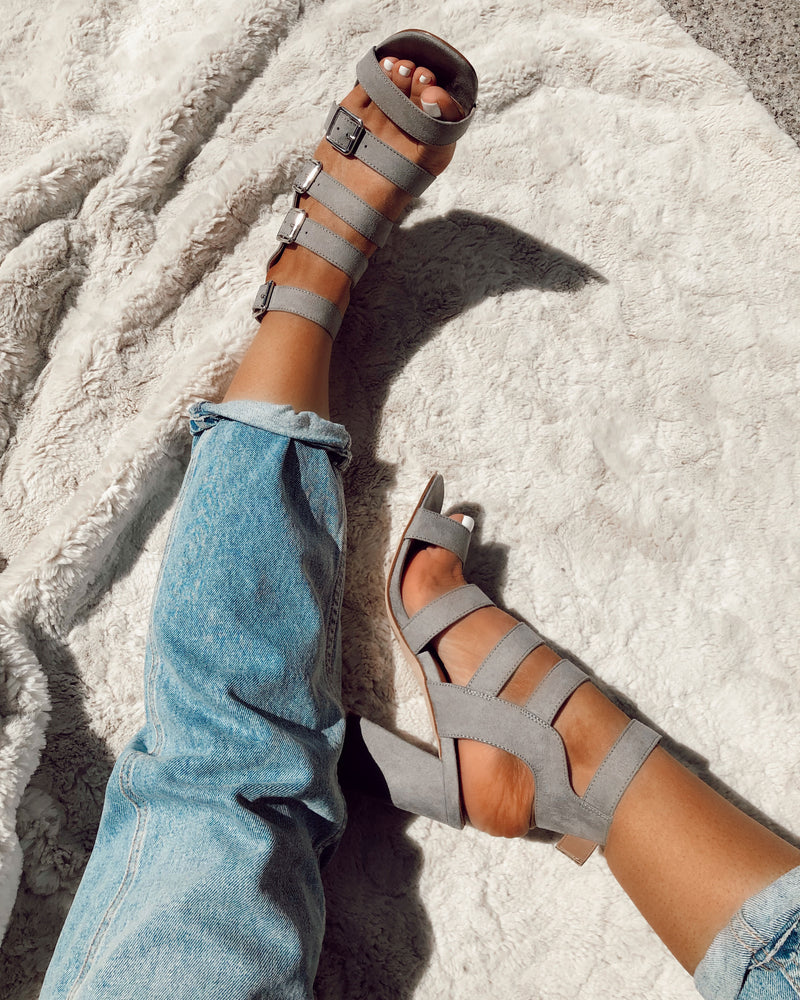ladies grey buckle heeled sandals