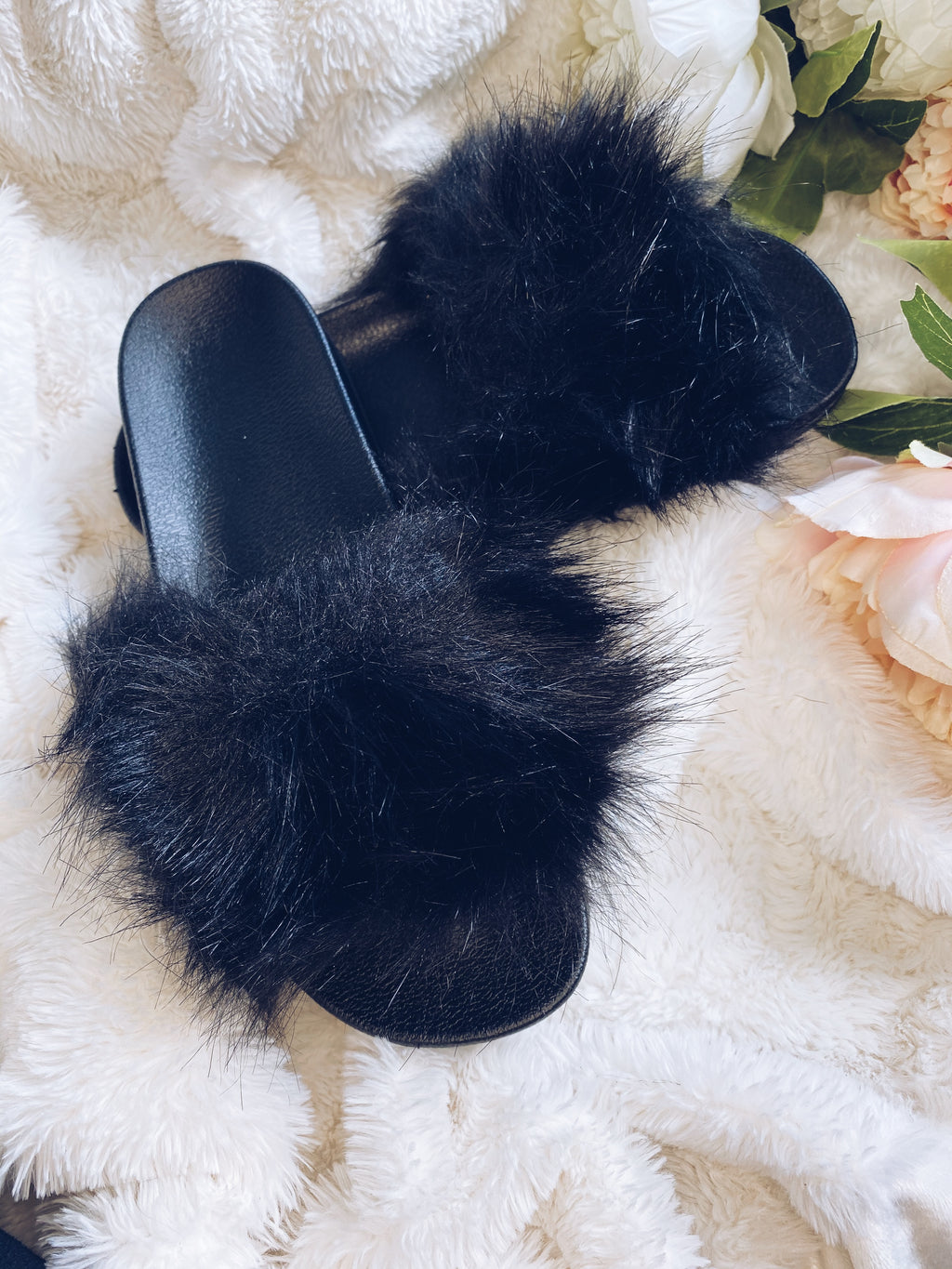 Fluffy Black Fur Sliders