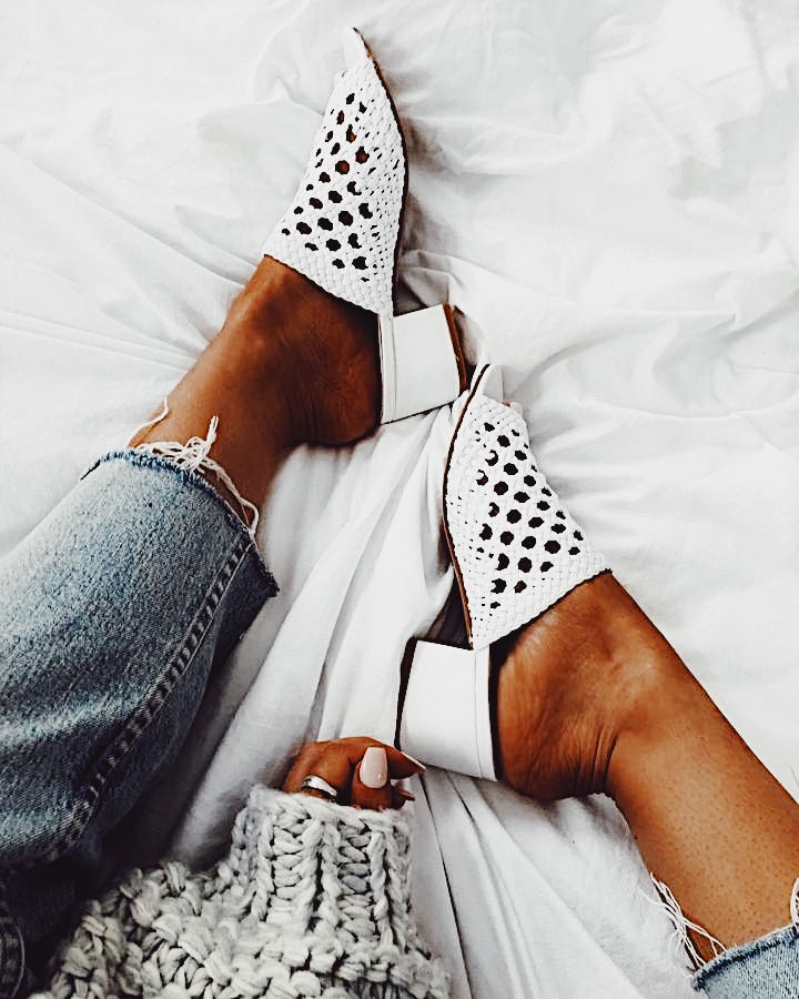 Low Key Mules in White
