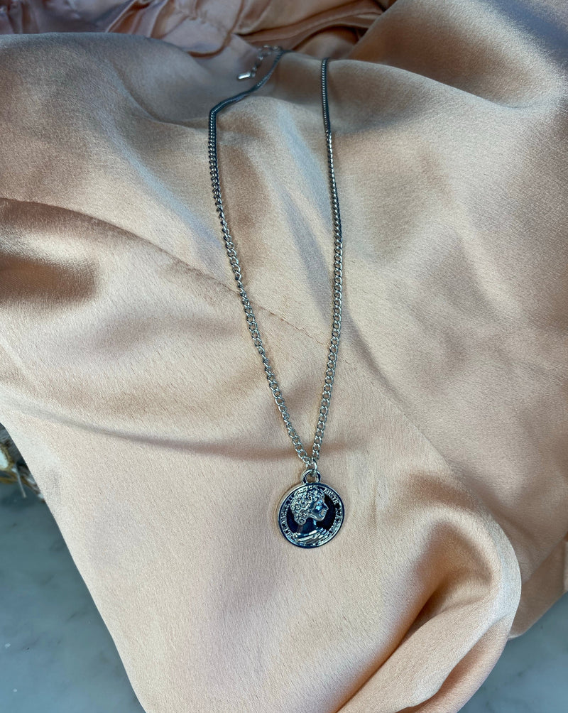 Brogan Coin Necklace In Silver