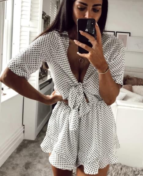 Milan Polkadot Playsuit in White Polka