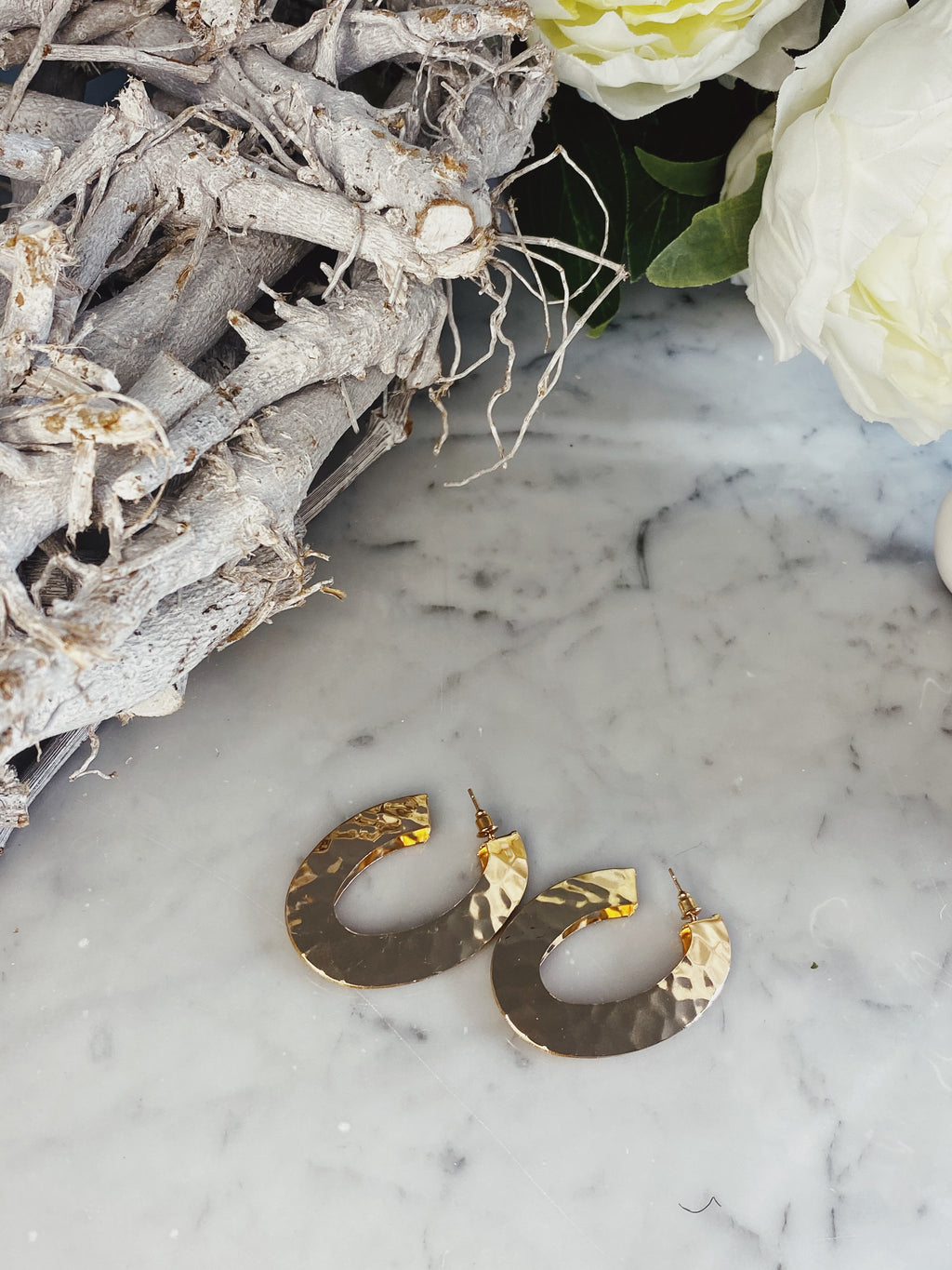 Faded Medium Size Hammered Hoops In Gold