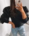 Libby Puff Sleeve Jumper Black