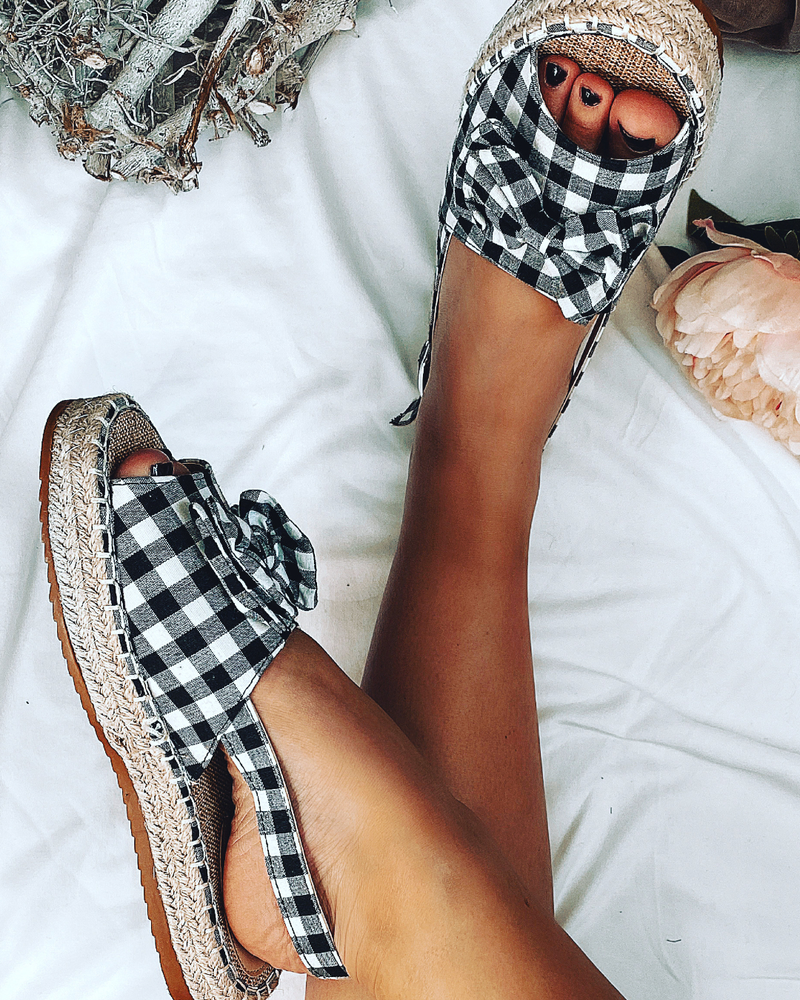 Slingback Bow Sandals in Black Gingham