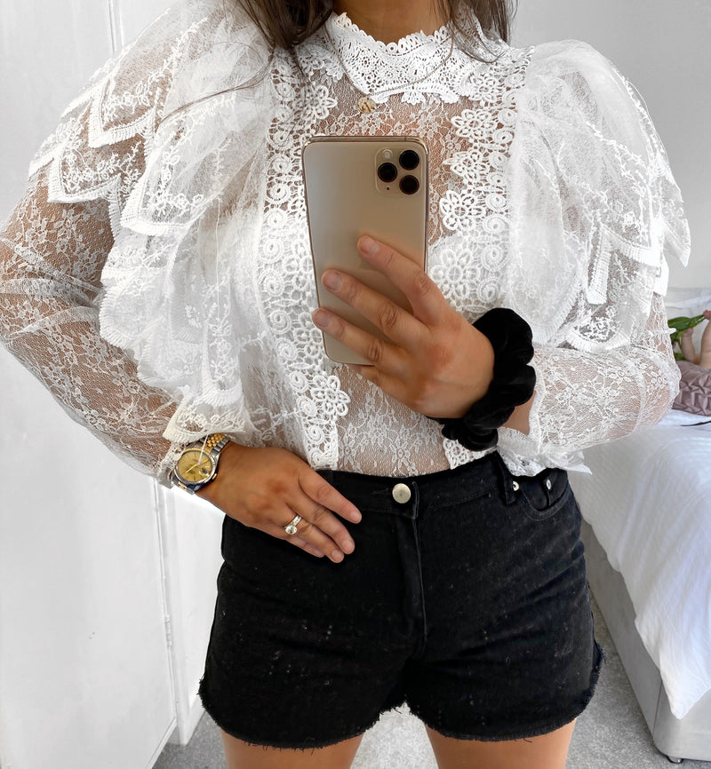 High Roller Lace Frill Top