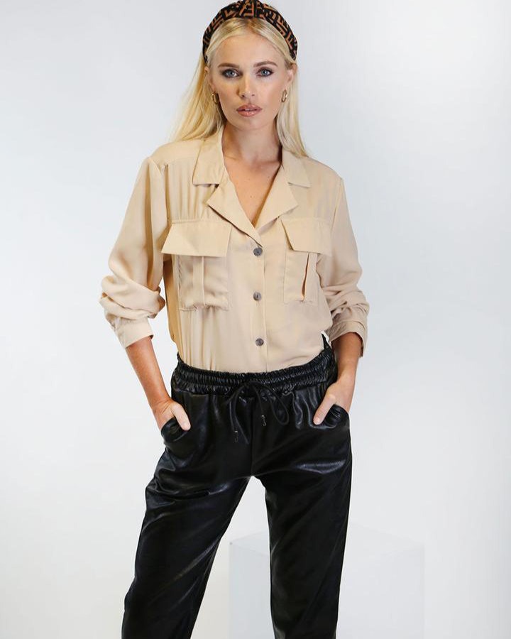 Harper Boxy Shirt in Taupe