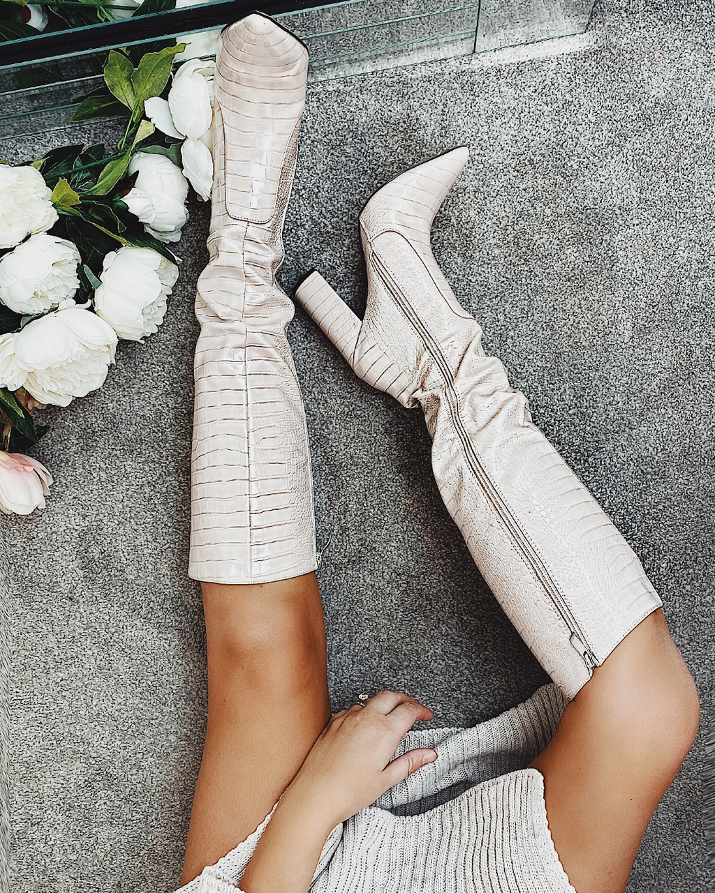 Selena Crocodile Knee Boot
