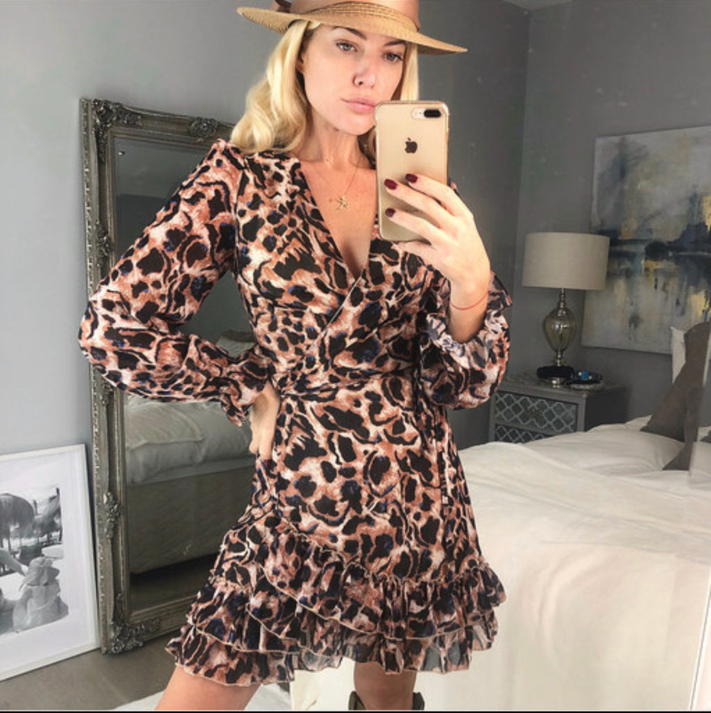 Nala Leopard Print Wrap Dress