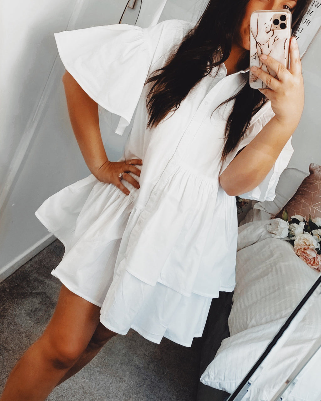 Deena Shirt Dress White